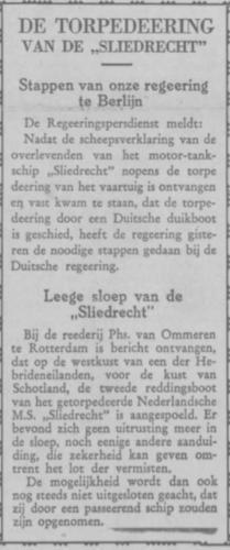 Torpedering  Sliedrecht (3) Kranten artikel