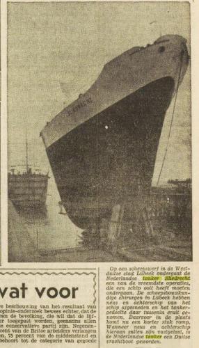 Krantenartikel ombouw Sliedrecht Vrije Volk 24-3-1950